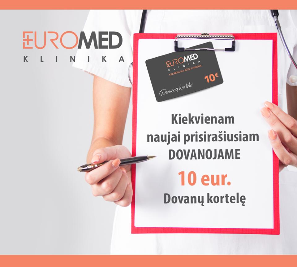 Naujam pacientui, dovanojame 10 Eur!